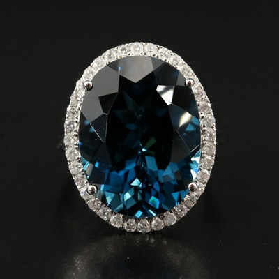 14K 22.31 CT London Blue Topaz and Diamond Halo Ring
