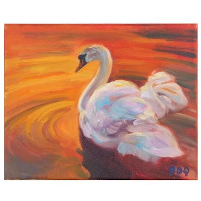 "Peter Chorao Oil Painting ""Swan,"" 2021"