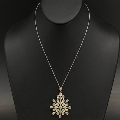 Sterling Opal Pendant Necklace
