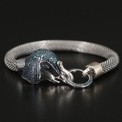 Sterling Diamond Elephant Door Knocker and Stainless Steel Mesh Bracelet