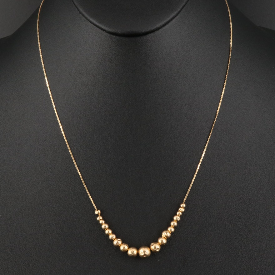 14K Serpentine Chain Necklace with Graduated Beads