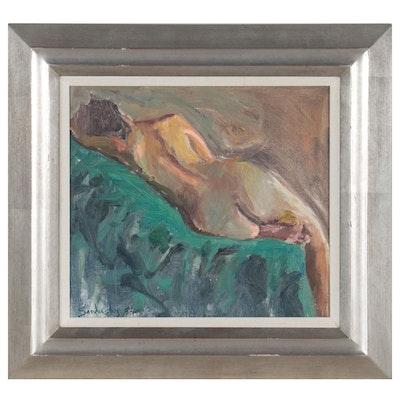 "Phil Sandusky Oil Painting ""Reclining Nude,"" 1994"