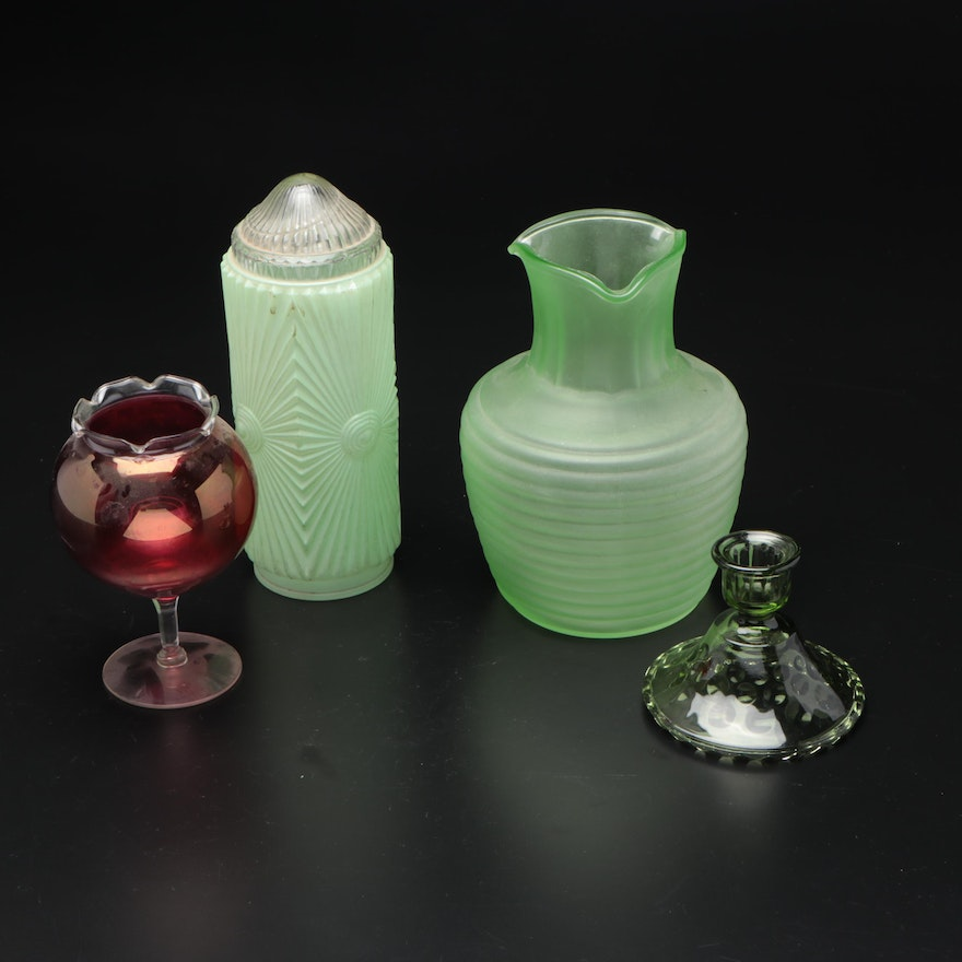 Frigidaire Green Glass Pitcher and Other Colored Glassware, Mid-20th Century