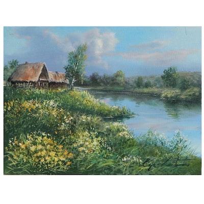 """Jevgenijus Litvinas Lakeside Oil Painting """"Spring,"""" 2021"""