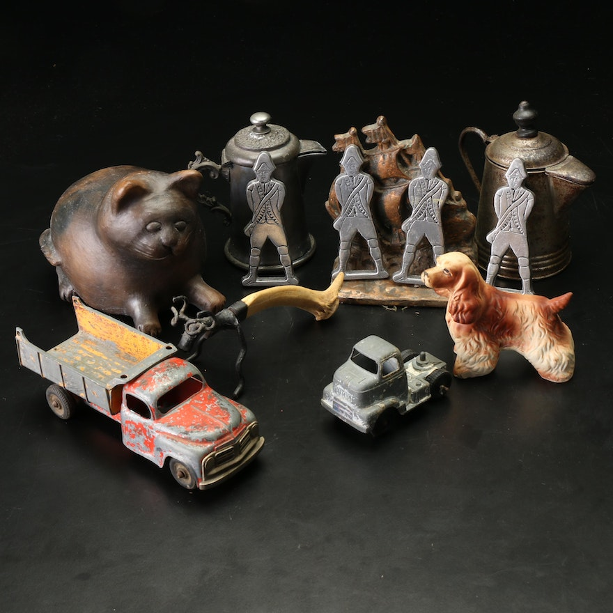 Steel Toy Trucks, Lead Soldiers, Metal Figurines and More, Mid-20th Century