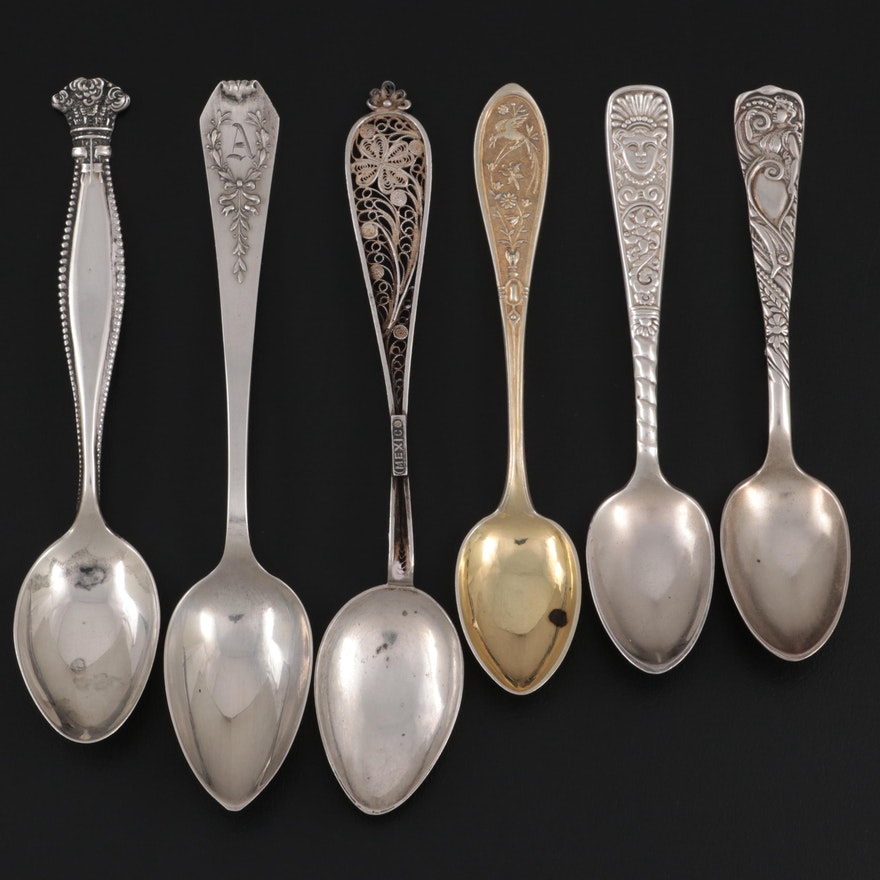 German M.J. Rückert Gold Washed 800 and Other Sterling and 900 Silver Spoons