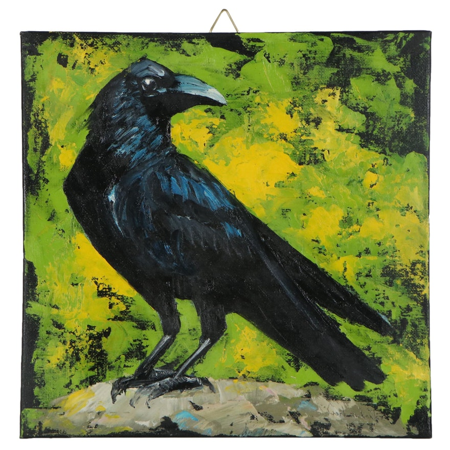 Tetiana Gorbachenko Oil Painting of Black Crow, 21st Century