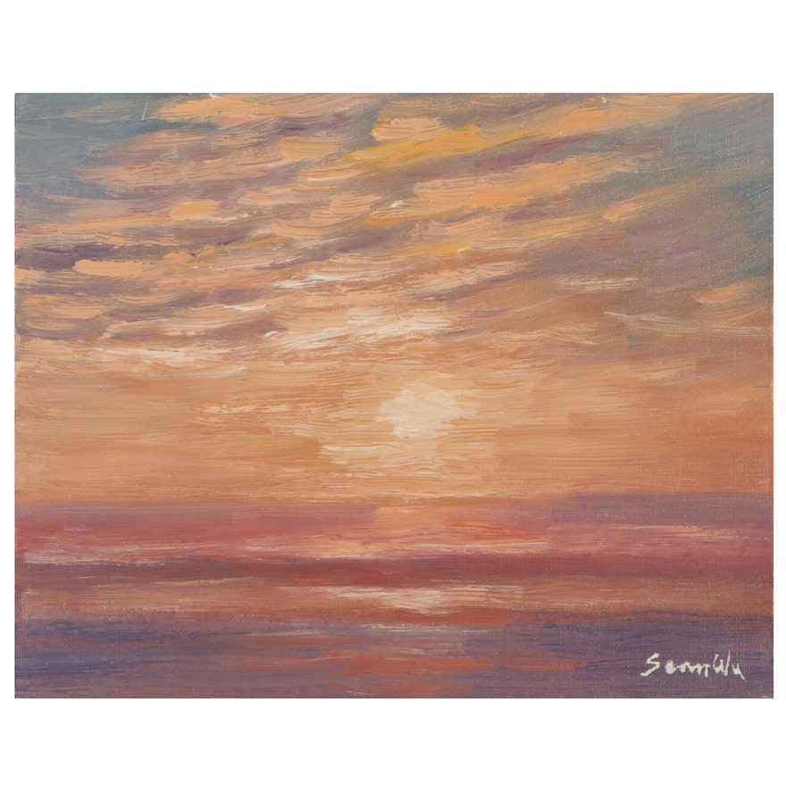 Sean Wu Oil Painting of Sunset, 2021