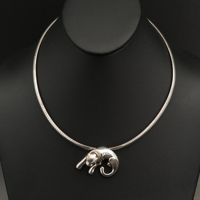 Sterling Panther Slide Pendant on Italian Omega Chain Necklace