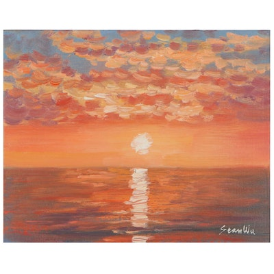 Sean Wu Seascape Oil Painting of Sunset, 2021