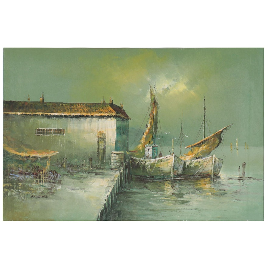 Oil Painting of Harbor, Late 20th Century