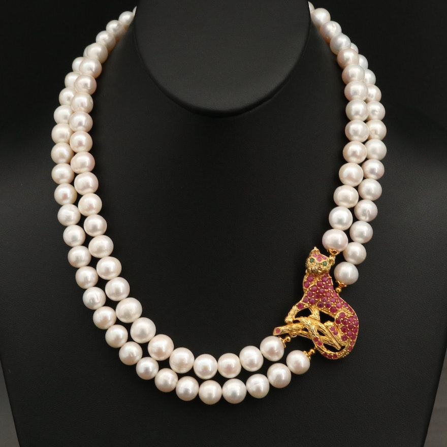 Sterling Pearl Necklace with Ruby and Emerald Feline Accent