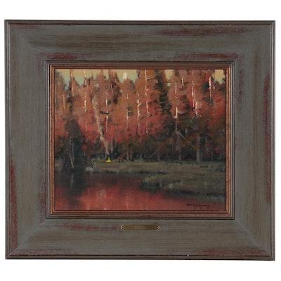 "Keith Huey Oil Painting ""Solitude,"" Late 20th Century"