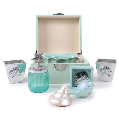 Metal Seashell Embellished Box, Glass Vanity Jar, and Other Beach Style Décor