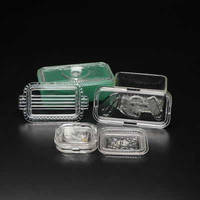Jade and Clear Glass Refrigerator Containers, Mid-20th Century