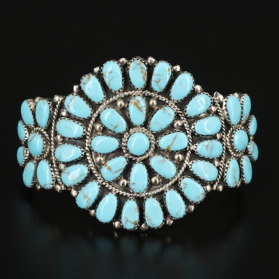 Juliana Williams Navajo Diné Sterling Petit Point Turquoise Cuff