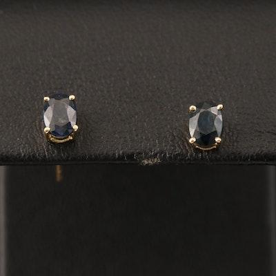 14K Oval Sapphire Stud Earrings