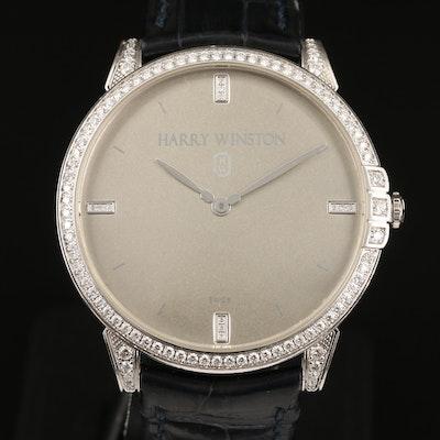 "Harry Winston ""Midnight"" 2.01 CTW Diamond and 18K White Gold Quartz Wristwatch"