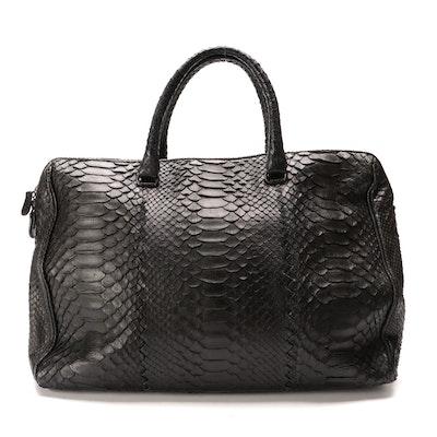 Bottega Veneta Black Waxed Python Skin Large Boston Bag