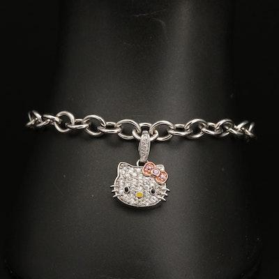Hello Kitty Sterling Silver Sapphire and Enamel Charm Bracelet