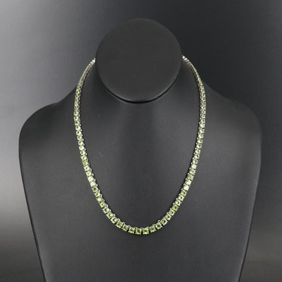 Sterling Peridot Graduated Necklace