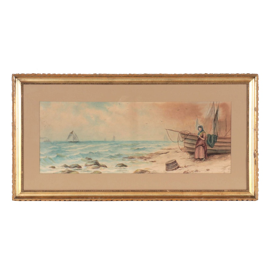 Rena Hill Seascape Watercolor Painting with Woman at Shore, Early 20th Century