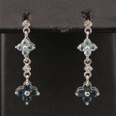 10K Topaz, Sapphire and Diamond Earrings