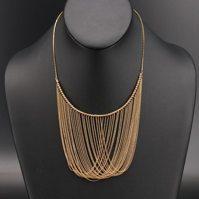 Italian 14K Drapped Chain Collar Necklace