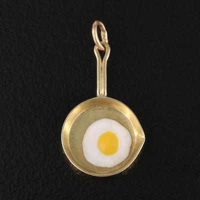 14K Enamel Egg in Skillet Charm