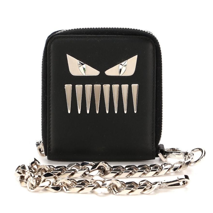 Fendi Zipper Chain Wallet in Black Leather and Palladium Monster Motif