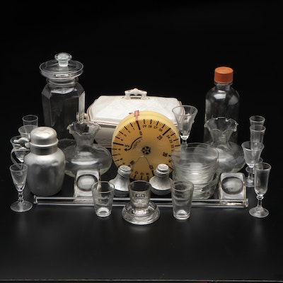 Glass Cordials, Jiggers, Vases and Bowls with Metal Shaker Set, Ewer, and More