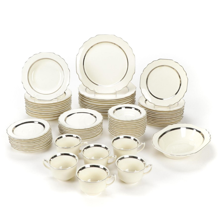 W. S. George  Silver Rim Ceramic Dinnerware, Mid-20th Century