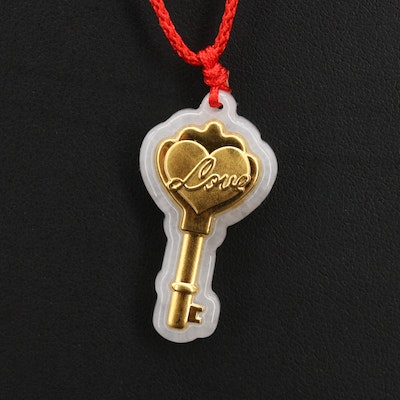 Jadeite Love Key Pendant Necklace with 22K Accent