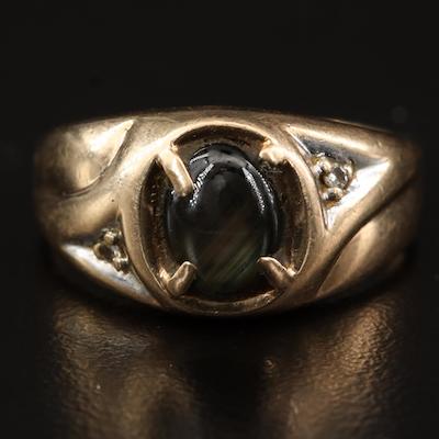 10K Black Star Sapphire and Diamond Ring