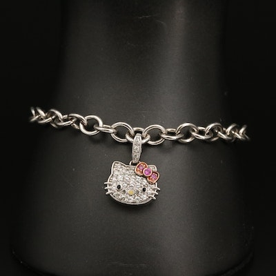 Hello Kitty Sterling Silver Sapphire, Ruby and Enamel Charm Bracelet