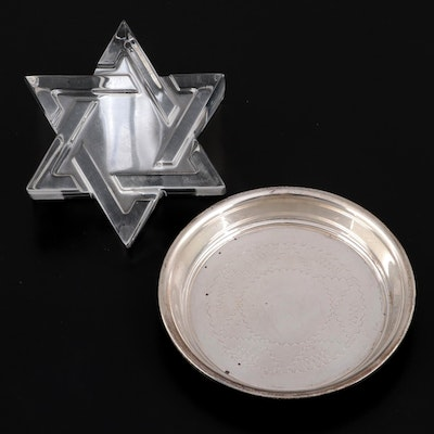 Baccarat Crystal Star of David Paperweight with Silver Plate Star Coaster