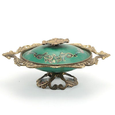 Israeli Brass Mounted and Enamel Footed Lidded Bowl, Mid to Late 20th Century