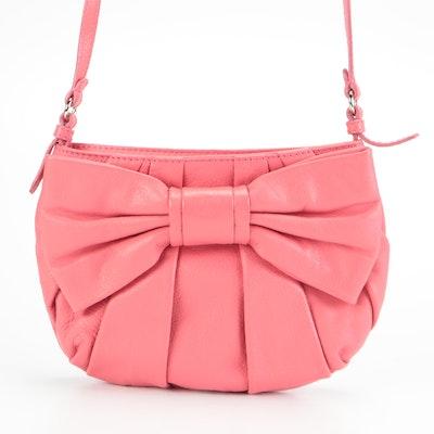 RED Valentino Bow-Front Shoulder Bag in Rose Calfskin Leather