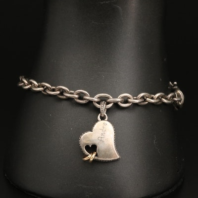 Sterling Silver Heart Charm Bracelet with 14K Accents