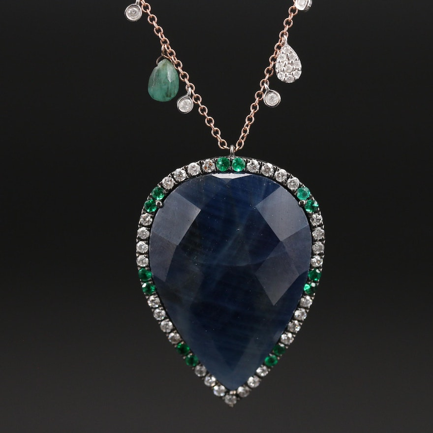 Meira Tugendhaft 14K and Sterling Corundum, Emerald and Diamond Necklace