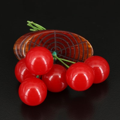 Vintage Cherry Cluster Brooch