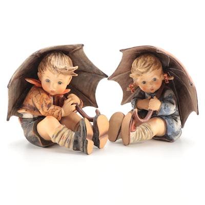 "Goebel ""Umbrella Girl"" and ""Umbrella Boy"" Porcelain Hummel Figurines"