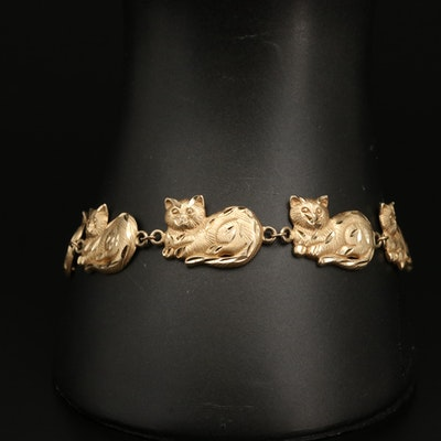 14K Gold Cat Bracelet