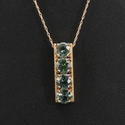 14K Apatite Bar Pendant Necklace
