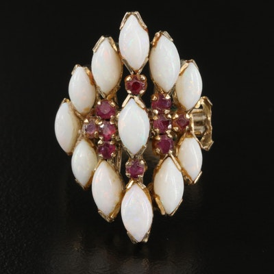 Vintage 14K Opal and Ruby Ring