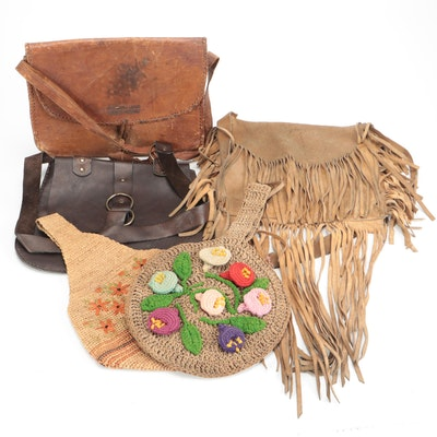 Standing Rock Indian Agency and Other Leather and Crochet Bags