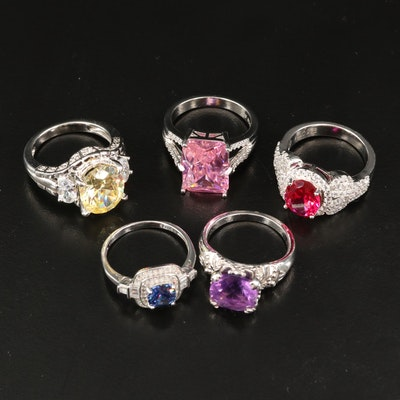 Sterling Silver Rings Featuring Amethyst, Ruby and Cubic Zirconia