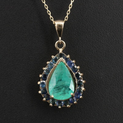 14K 2.49 CT Emerald and Sapphire Halo Pendant Necklace