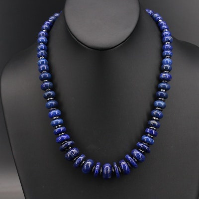 Graduated Lapis Lazuli and Hematite Bead Necklace with 14K Clasp