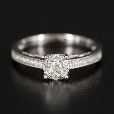 EFFY 14K Diamond Cluster Ring with Milgrain Detail